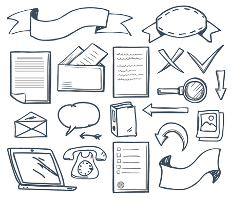 Office supplies with banners isolated set vector. Cross and check mark, magnifying glass and old fashioned telephone, laptop screen and though bubble Stock fotó - 127054521
