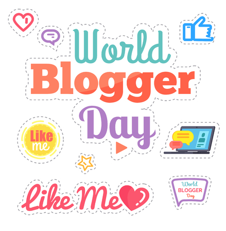 World Blogger Day Like Me Poster Isolated Vector Reklamní fotografie - 113663428