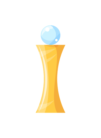 Gold award with glass brilliant ball on top flat illustration. Winner victory trophy applique isolated. First place champion prize vector poster. Иллюстрация