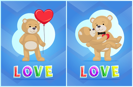 Love vector illustration with toy bear color cards, isolated on blue background animals, pair of furry dolls standing together, balloon in heart shape Ilustração