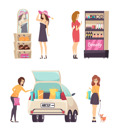 Person choosing makeup cosmetics product from stand vector. Palette and powder foundation and mascara. Car with packages, trying on hats, lady and dog