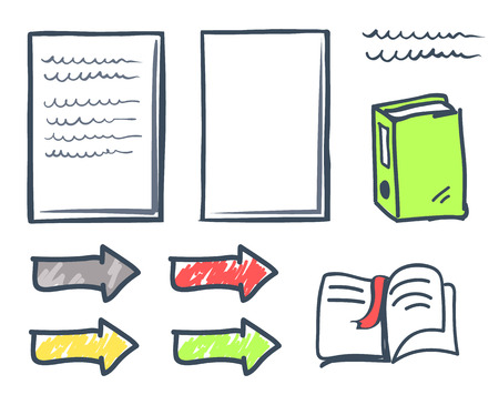 Office paper and bookmark in book isolated icons vector. Publication and arrowheads, pointers with files and folders. Indicator pages with signature