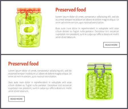 Preserved food banners, olives and grapes. Jar of vegetables or berries in marinade web pages templates vector illustrations with button under text. Çizim