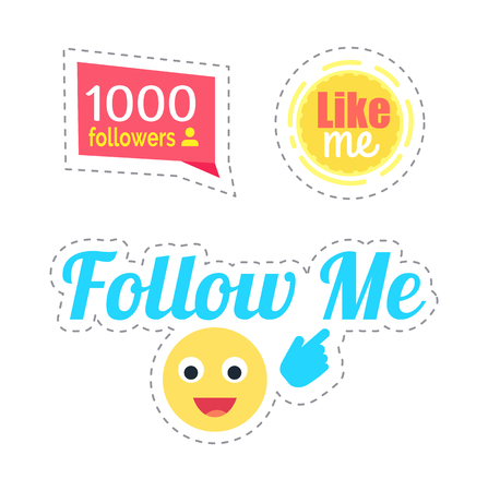 Follow Me Smiley and Like Stickers Set Vector Stock Photo