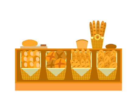 ounter Stall Bakery Food Products. Vector Bread