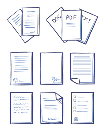 Office Papers Documents and Files Set Icons Vector Zdjęcie Seryjne