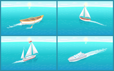 Water Transport Rowing Boat of Wood Set Vector