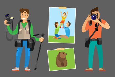 Photographers with Digital Cameras and Photos Set Stock Photo