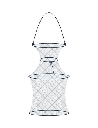 Fyke Hoop Net Fishing Trap Vector Illustration