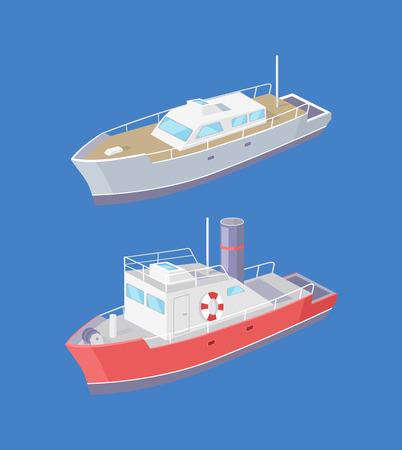 Steamboat und Yacht Marine Transportschiff Segeln im Meer oder Ozean isoliert auf Blau. Transportsegelboot mit Rettungsring, schwimmendes Vektorsymbol des Schnellbootes
