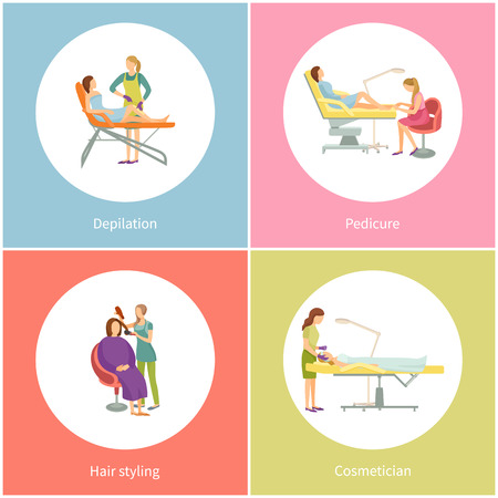Depilation and pedicure by pedicurist set icons vector. Hair removal procedures and cosmetologist cosmetician, face treatment and hairdresser haircut
