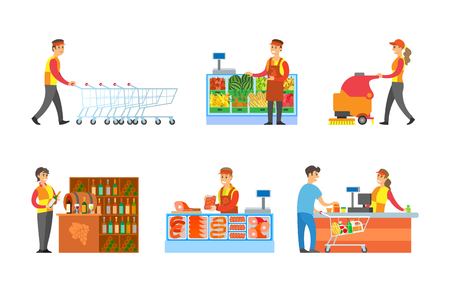 Supermarket departments and sellers set vector. Worker arranging trolleys, man with fruits on shelves. Butcher and cashier by counter with client