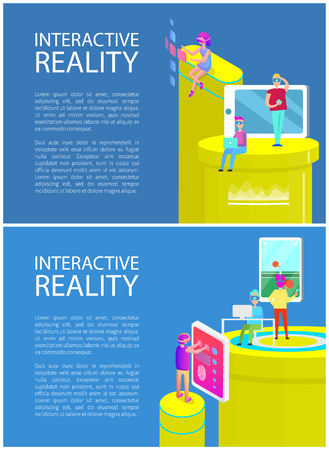 Interactive reality people entertaining with innovative technologies, posters with text samples. Mobile phone table tennis game played by man vector