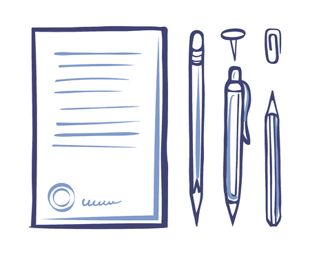 Office supplies and stationery monochrome icons vector. Document and signature at page bottom part, pencil and pen. Pin and clip, writing objects Ilustracja
