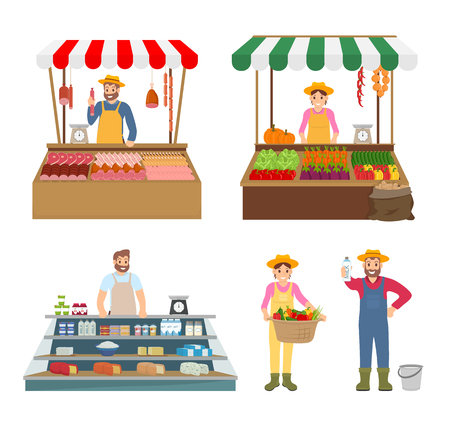 Trade woman and man isolated icons set. Meat and vegetables salesman, farming people with milk products, basket with veggies. Sellers from farm vector