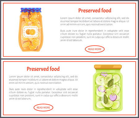 Preserved food banners with oranges and cucumbers. Vegetable in marinade, sweet fruit jam inside jar, text on web poster vector illustrations set.
