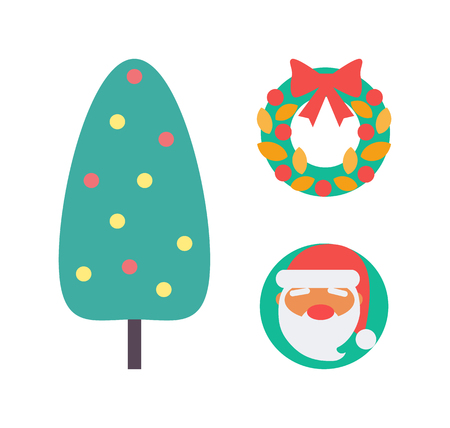 Christmas tree and decoration, wreath made of leaves isolated icons set vector. Santa Claus grand Frost, bows and ribbon, garland and ball round toys