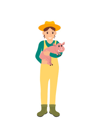 Farmer with pig on hands isolated icon vector. Woman wearing hat and special form protecting from dirt. Piglet little swine, animal breeding in farm