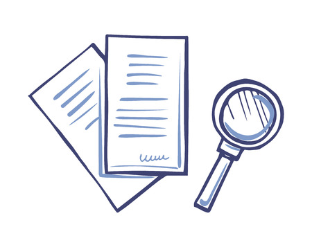 Magnifying Glass and Paper Document with Signature