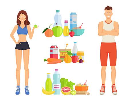 Gesunde Lebensmittelfrau und -mann zu den Mahlzeiten. Isolierte Symbole für Gemüse, Obst und Flüssigkeiten. Protein- und Kohlenhydratverbrauch des Menschenvektors