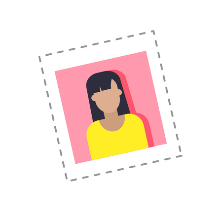 Blogger profile photograph of female, main picture of woman using social networks vector. Isolated sticker and patch with lady blogging on internet Illustration