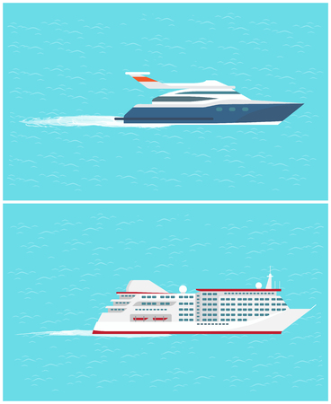 Water transport sea trip and cruise liner set of transportation for passengers vector. Yacht floating on sea or ocean surface, comfortable shipment