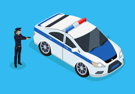 Police officer and car icons 3D isometric. Policewoman with gun and automobile profession of protecting people from criminals. Cop isolated on vector