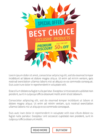 Best choice exclusive offer poster. Banner ornate with autumn leaves. Discounts and sales business proposition seasonal clearance special deal vector