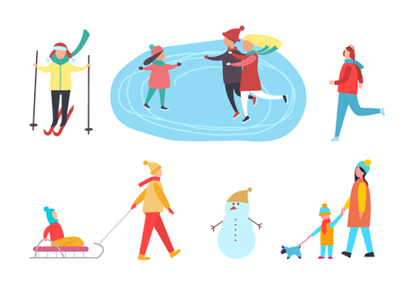 Winter activities, people skiing and skating on rink vector. Kid sitting on sledges, man jogging, mother child walking dog pet. Active family pastime