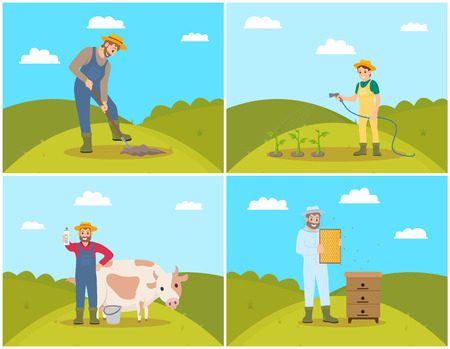 Farmer Digging Soil of Field Vector Illustration Stok Fotoğraf - 113663704
