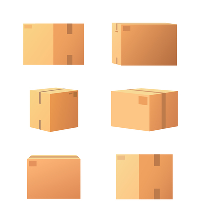 Carton Packages with Adhesive Type Set Vector Archivio Fotografico - 113729321