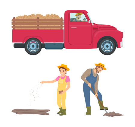 Farming Man and Woman Icons Vector Illustration