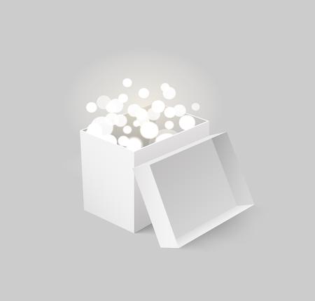 Package with Light and Beams Carton Box Vector Archivio Fotografico - 113770796