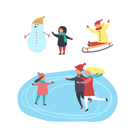 Skating Rink and People, Children Playing Vector Stock Photo