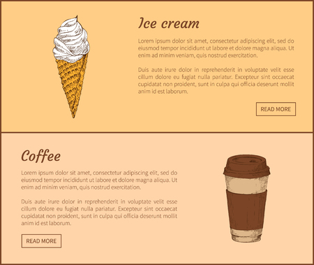 Ice Cream and Coffee in Cup Vector Illustration