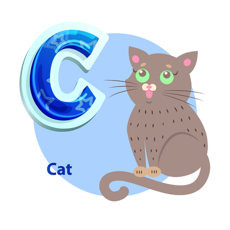C Letter Flashcard with Cat for Alphabet Showing
