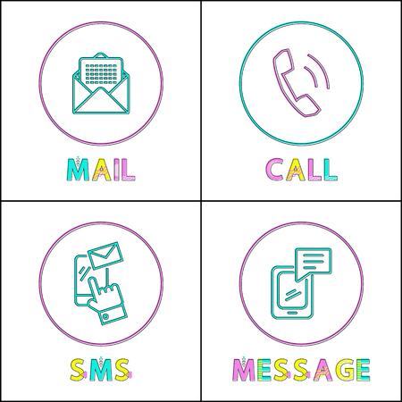 Conjunto de iconos de contorno de medios modernos de comunicación. Mensaje telefónico y llamada simple, SMS de texto y correo electrónico para mantenerse en contacto. Representación de bocetos en color pequeño