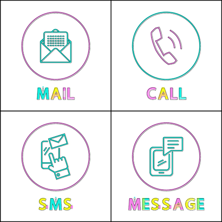 Modern means of communication outline icon set. Phone message and simple call, text sms and electronic mail to keep in touch small color sketch depiction. Stockfoto - 113335507