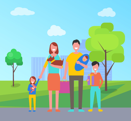 Family walks outdoors in city park. Mother with dog in hands, daughter holds flowers, father takes care about newborn infant, son with gift box vector