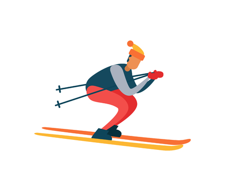 Experienced skier on fast skis moving downhill with help of sticks winter activity poster with man in hat vector illustration isolated on white Ilustração