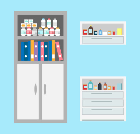 Vet bottles and drugs placed in cabinet, chest of drawers of vet clinic vector. Books and files of doctors, patients cases and medications treatment 일러스트