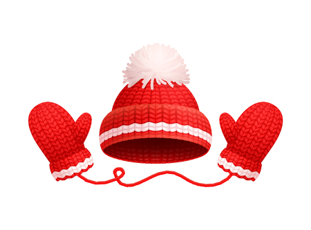 Winter warm red hat with white pom-pom and knitted glove icons. Woolen mittens and headwear in realistic design, outfit gauntlet, personal accessories Illustration