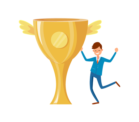 Trophy cup with golden wings, successful businessman happy to achieve goal and got prize. Worker win competition, best reward for affairs vector