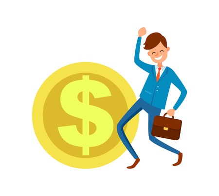 Dollar Icon and Businessman Making Yes Gesture