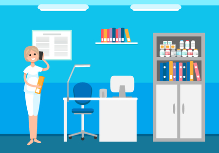 Veterinary clinic, animals hospital, woman receptionist talking on phone appointing meetings vector. Interior of doctor room with bottles medicaments Illusztráció