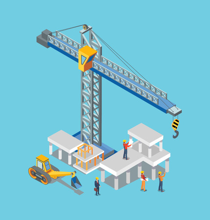 Construction building machines and worker man vector. Crane loading and lifting blocks of cement, industrial machinery, working industry builders