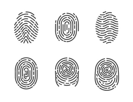 Identification fingerprints sketches set icons vector. Security and prints of fingers to pass access. System of bio recognition, identifying methods