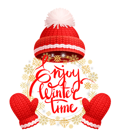 Enjoy winter time greeting card with warm red hat, white pom-pom, knitted gloves. Woolen mittens and headwear, realistic outfit gauntlet, personal accessories
