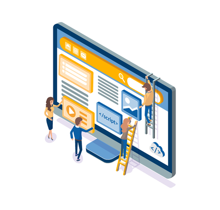 Developers working on web development, optimization and improvement vector. Screen of computer, content managers, posting videos and text articles