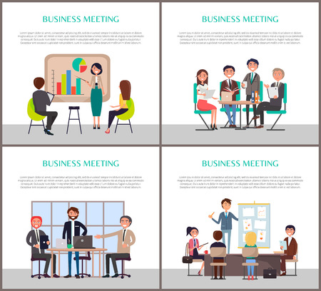 Business meeting of office workers staff vector. Posters with text sample, businessman and businesswoman presenting charts graphic ideas on whiteboard